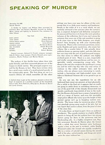 1957 Article Speaking of Murder Play Review Audrey William Roos Billy Quinn YTA4 - Original Print - Reviews Vintage Unique