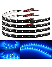 EverBright 4-Pack Blue Car Led Strip Light, 30CM 5050 12-SMD Waterproof Car Underglow Lights Motorcycles Golf Cart Car Decorations Interior Exterior Led Lights Strip with 3M Tape, DC-12V