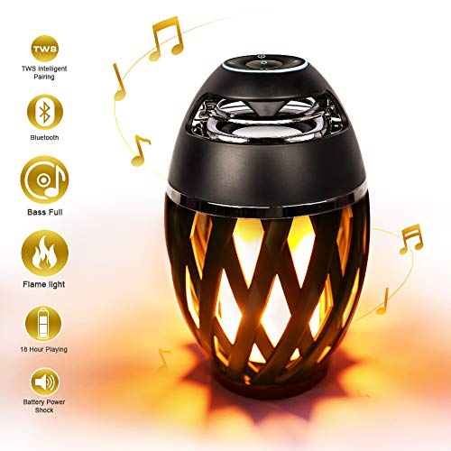Led Flame Speakers, Yneedi Torch Ambience Portable Outdoor Wireless Speakers with HD Audio and Enhanced Bass, Night Light Desk Lamp with LED Flickers for iPhone/iPad/Android, Perfect Gift
