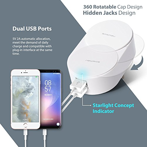 WiFi Smart Plug, Wireless Smart Outlet Socket Compatible With Alexa, Extra Dual USB Ports, Timing Function, Remote Control Your Devices Anywhere, Rotation Cap to Protect kid's Safety (2 Pack) by NewRice (Image #1)