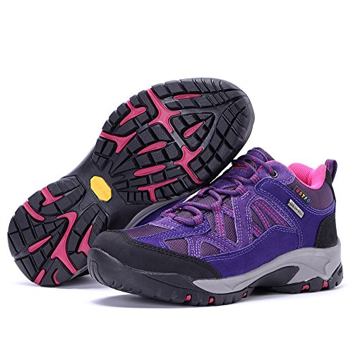 Tfo Mujer Trekking Hiking Zapatos Impermeable Ligero Walking Sneaker Leather Para Deportes Al Aire Libre Por Purple