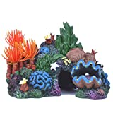 pranovo Colorful Mountain View Rockery Landscape Decor Rock Hiding Cave Tree with Coral Conch Shell Artificial Aquarium Ornament Fish Tank Decoration
