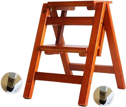 Taburete de Escalera de Madera Maciza Casa Plegable Escalera multifunción Pedal de Escalera Interior Taburete de 2 Pasos para la Cocina en casa Oficina Jardín Herramientas de Escalada: Amazon.es: Hogar