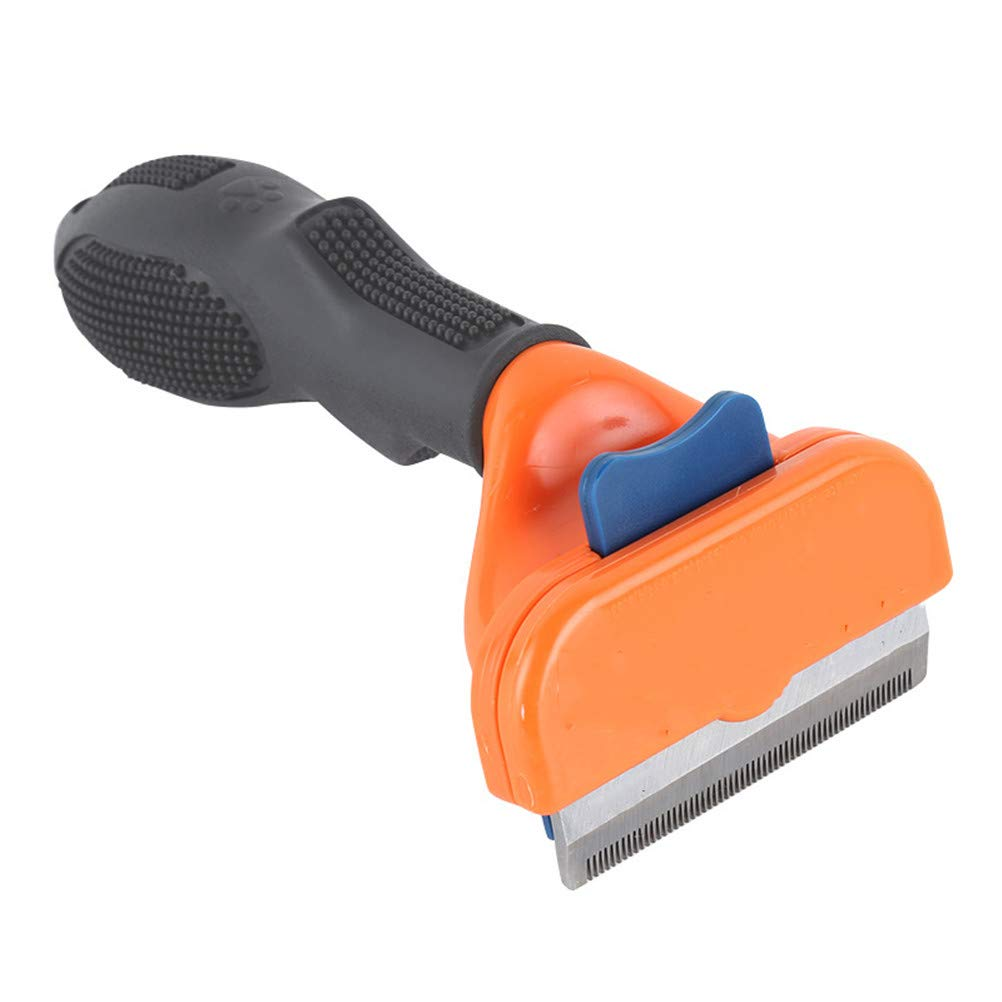 Pet Grooming Brush,Pet Grooming Artifact, Self Cleaning Hair Removal Comb,Steel Grooming Comb, for Small, Medium & Large Dogs, Cats,OrangeM