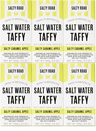 Salty Road Gourmet Saltwater Taffy Caramel Apple 3.5 oz (Pack of 6) (Water Salted)