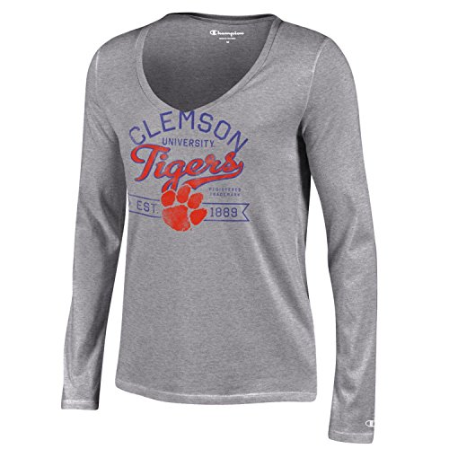 Champion NCAA Clemson Tigers Women's University Long Sleeve V-Neck T-Shirt, Large, Gray