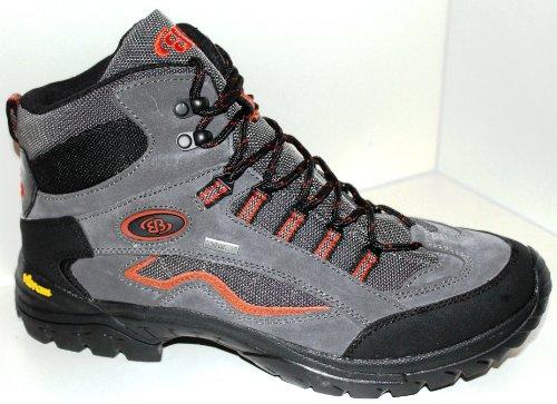 Brütting - Botas de senderismo de cuero para hombre multicolor Grau (grau/orange) 43