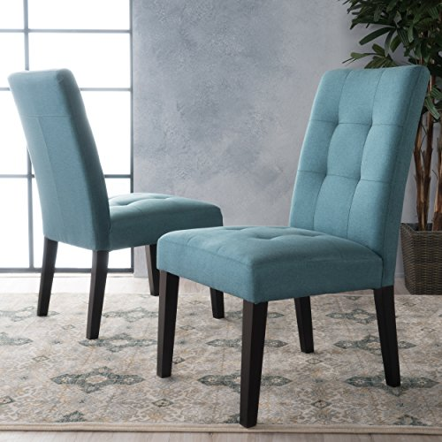 Chaplin Teal Fabric Dining Chair (Set of 2) (Covered Dining Room Chairs)