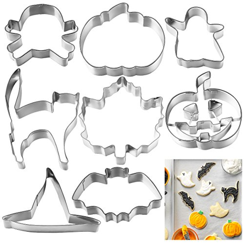 Easy Halloween Cakes Biscuits (OUNONA 8pcs Halloween Cookie Cutter Stainless Steel Cake Biscuit Molds Set - Pumpkin, Ghost, Skull, Bat, Witch's Hat, Maple Leaf,)