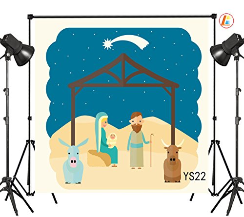 LB 10X10ft Nativity of Jesus in Stable Bethlehem Meteor Thin Vinyl Photography Backdrop Customized Photo Background Studio Prop YS22 by LB