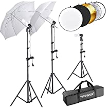 Neewer 600W 5500K Umbrella Reflector and Stand Kit Includes:(2)White Umbrella,(1)5-in-1 Reflector(2)6 feet and(1)1.6 feet Light Stand,(3)45W Bulb(3)Light Holder and(1)Carry Case for StudioPhotography