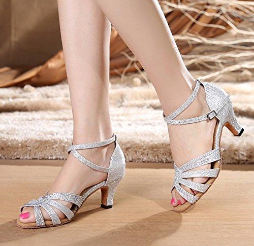 Tda Donna Moda Metà Tacco Cristalli Glitter Sintetico Tango Sala Da Ballo Salsa Scarpe Da Ballo Danza Latina 6cm Tacco Argento