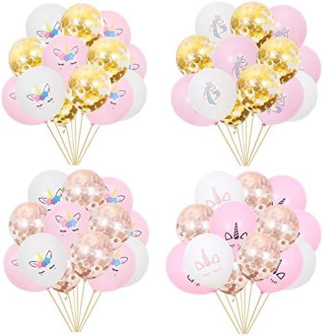 10 Pcs Unicorn Birthday Party Pink and White Balloons Supplies Set USA