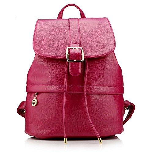 Wewod Mochilas Escolares Mujer Bolso Cuero Bolsos Mochila de Viaje bolsos de Piel para Colegio Vintage PU Casual Bag 26* 35 *14.5 cm (Largo * Alto * Grueso) Rose Red