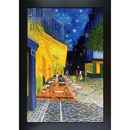 La Pastiche overstockArt VG1540-FR-137B24X36 Vincent Van Gogh Cafe Terrace at Night 24-Inch by 36-Inch Framed Oil on Canvas ()
