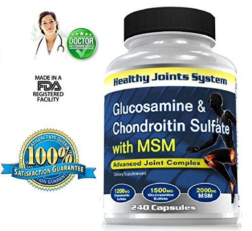 Glucosamine - Chondroïtine - Supplément MSM - Support mixte sur la santé - Extra Formule Force Triple avec du HCl / 1200mg sulfate de chondroïtine - sulfate de glucosamine 1500mg - 2000mg Msm - Rigidité et Cracking / réduire l'inflammation articulaire, re