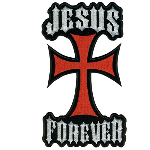 Hot Leathers, JESUS FOREVER CROSS, Iron-On / Saw-On Rayon PATCH - 6