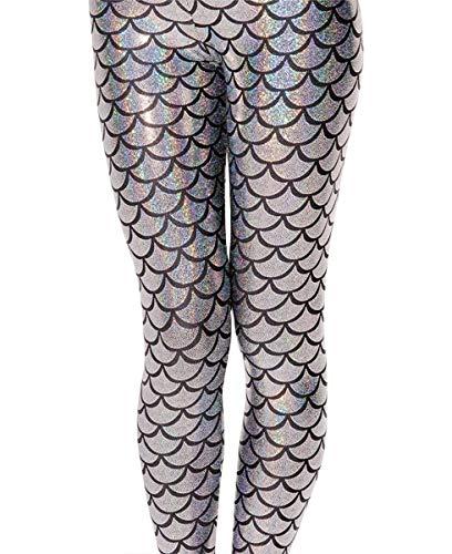 (Alaroo Women Metallic Mermaid Print Scale Leggings Party Costume Silver)