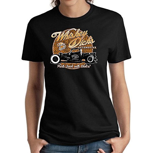Classic Car Ladies Shirt Whiskey Dicks Automotive Missy (Black, 3XL)