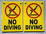 2Pc Heart-stopping Unique No Diving Symbols Signs Plastic Declare Swiming Warning Message Pools Rules Decor Pool Poster Stand Decal Lifeguard On Duty Swimming Post Danger Sign Size 8''x12'' w/ Grommets
