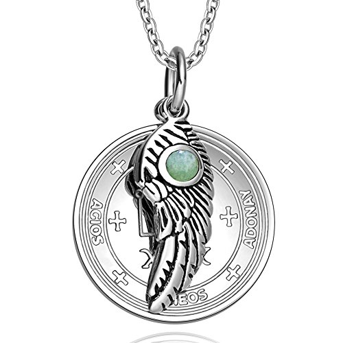 Archangel Raphael Sigil Amulet Magic Powers Angel Wing Charm Green Quartz Pendant 18 Inch Necklace