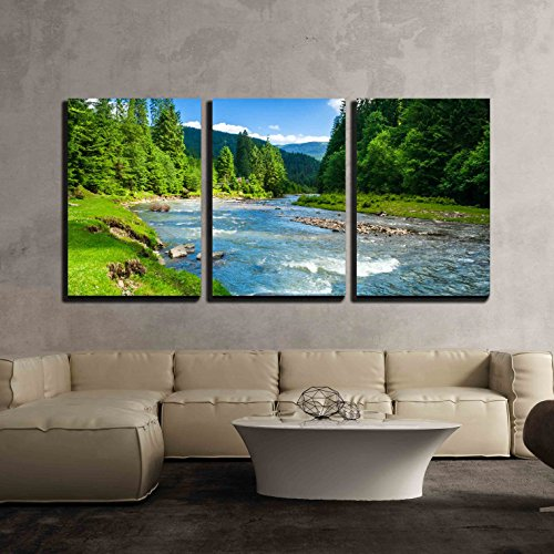 Landscape with Mountains Trees and a River in Front x3 Panels
