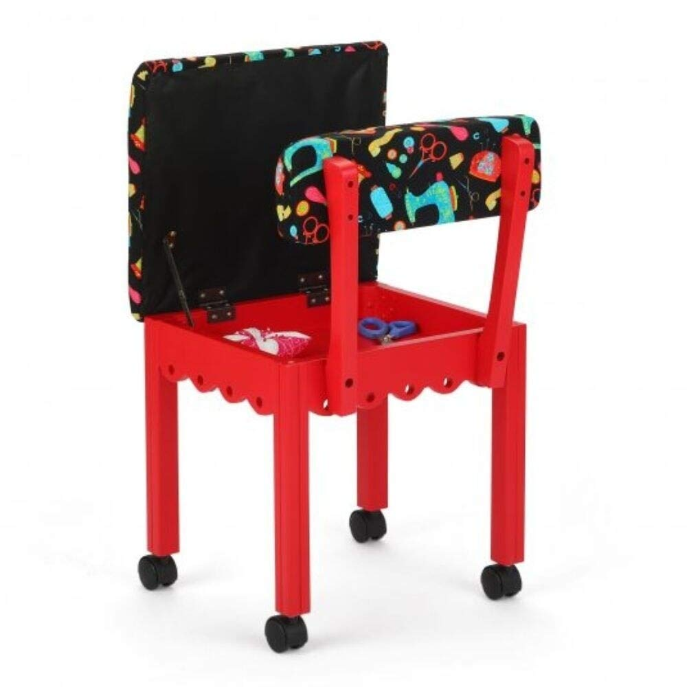 Arrow Sewing Cabinet Black Sewing Notions Chair with Gingerbread Scallops Red Finish
