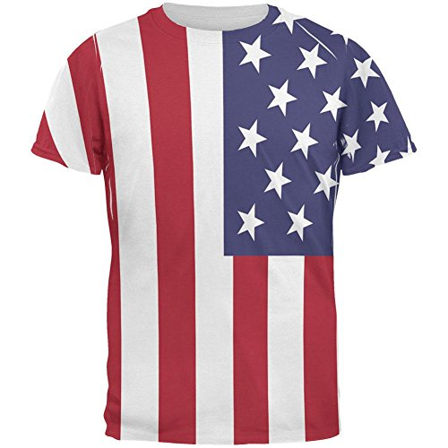 - Old Glory 4th of July American Flag All Over Adult T-Shirt - Large