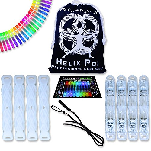UltraPoi - Double Helix Poi - LED Poi Set - Best Light Up Glow Poi - Flow Rave Dance - Spinning Light Toy