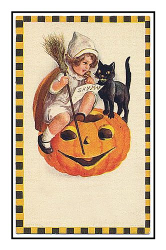 Orenco Originals Girl Black Cat Pumpkin Victorian Halloween Counted Cross Stitch Pat. -
