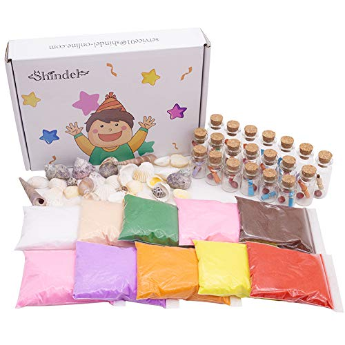 DIY Arts Crafts Kit, Sand Art Bottles Arts and Crafts Party Set for Kids, 20 Bottles, 10 Bags of Sand, Beach Seashells from Shindel