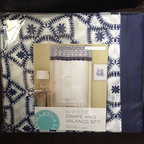 Martha Stewart Collection Lotus Medallion 6-Piece Drape & Valance Set / Pair (86 inches long) - Navy & (Martha Stewart Collection 6 Piece)