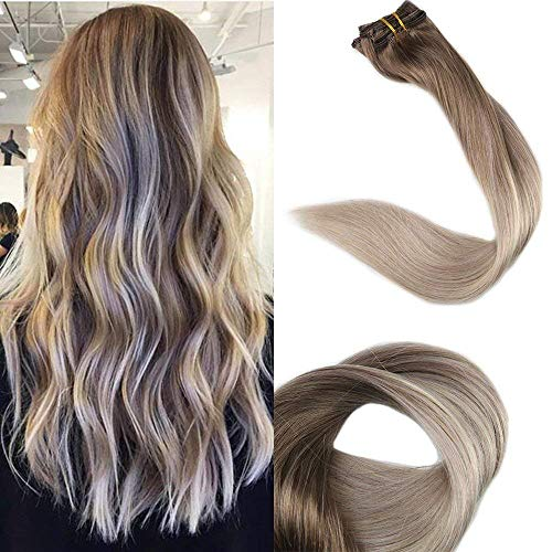 Full Shine 20 inch Clip in Real Hair Extensions Pastel Color 100 Real Human Hair Clip in Extensions Color #8 Fading to #60 and #18 120g 10 Pcs Full Head Set (Pastel Extensions)
