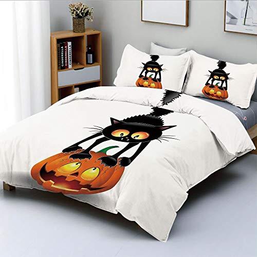 Duplex Print Duvet Cover Set Full Size,Black Cat on Pumpkin Spooky Cartoon Characters Halloween Humor ArtDecorative 3 Piece Bedding Set with 2 Pillow Sham,Orange Black,Best Gift for Kids & Adult -