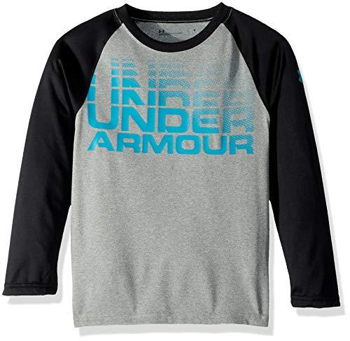 (Under Armour Boys' Little Long Sleeve Raglan Graphic Tee Shirt, True Grey Heather Wordmark 7)
