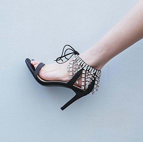 Correas Pierna Zapatos Cuero Zapatos SHINIK mujer alto punta de de Sandalias abierta con diamantes de Anillo imitación Nuevo de Verano tacón Negro gw76qwd