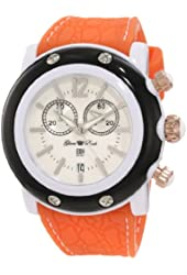 Glam Rock Women's GD1111-DMC-ST Miami Beach Chronograph White Dial Orange Silicone Watch