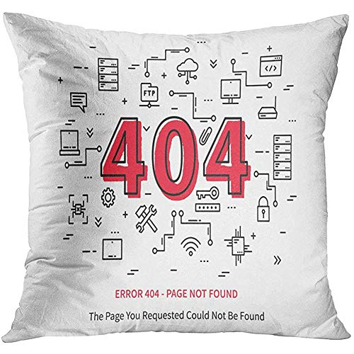 Throw Pillow Cover Hosting Center Error 404 Page with Datacenter Server Broken Graphic Design Not Found Creative Data Site Decorative Pillow Case Home Decor Square 18x18 Inches Pillowcase