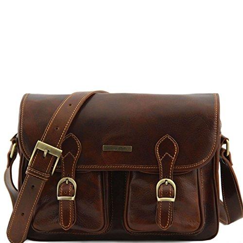 bolsillos en Marino delanteros TL10180 de Marrón Bolso San viaje Leather con 5 Marrón piel oscuro Tuscany HxnvzWgH
