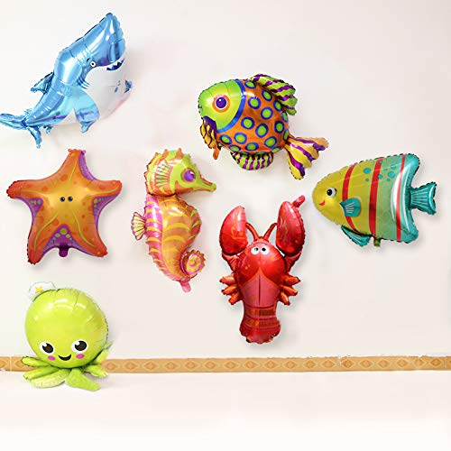 (7PCS Cute Different Large sea Cartoon Balloons for Marine Theme Party Kids Gifts Birthday Party Decor with Octopus Shark Lobster Hippocampus Starfish Fish Balloons)
