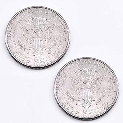 Double Sided Coin 2-Headed Half Dollar Coin Tail & Face Magic Tricks (Real Coin, Two Silver Eagle): Toys & Games