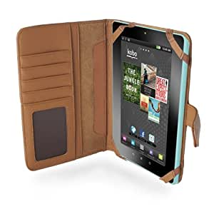 Navitech MITAB-Funda de piel sintética, color marrón para el tablet Kobo Vox e-reader