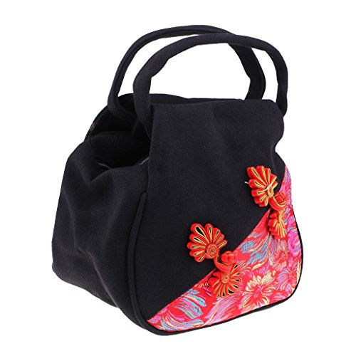 Ethnic Women Chinese Embroidery Fityle Blue Style Bag Tote Handbag Canvas Black F Bag Mini Messenger Bag gAY4wUxgq