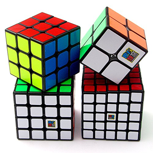 Black Cube Collection - Speed Cube Puzzle Pack | 2x2 3x3 4x4 5x5 Stickerless Cube Set Black| 4 Pieces Magic Cubes Collection | Puzzle Toys Brain Teaser Gifts