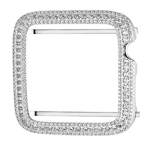 (Series # 1 Bling Apple Watch Cubic Zirconia White Gold Finish Bezel Case Insert 42mm )
