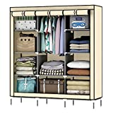 OUMYJIA 69'' Non-woven Fabric Wardrobe Portable Clothes Closet Storage Organizer, 51 x 17.5 x 69 inches, Beige