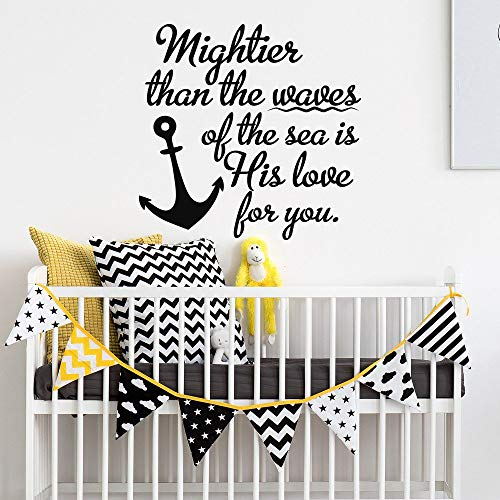 - Mightier Than The Waves of The Sea is His Love for You Psalm 93:4 Unique Wall Decal- Christian Wall Decal Nautical Theme Nursery Decor 22
