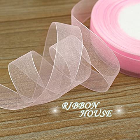 FunnyPicker (50 Yards/Roll) 3/4''(20Mm) Pale Pink Organza Ribbons Gift Wrapping Decoration Christmas Ribbons