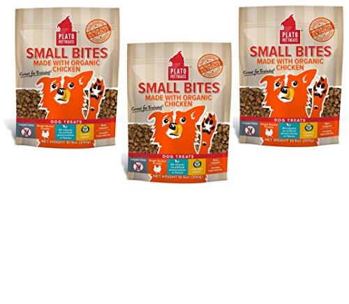 Image of PLATO Dog Treats -Small Bites Organic Chicken- 10.5 oz (3 Pack)
