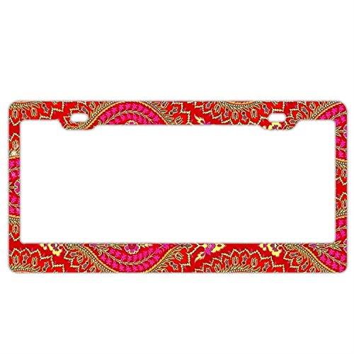 Customized Personalized Stainless Steel License Plate Frame Holder, Decorative License Plate Frame Persian Pink Mandala